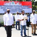 Polda Malut deklarasi protokol kesehatan menjelang Pilkada serentak 9 Desember yang dipusatkan di Polres Ternate, Kamis (10/9/2020)