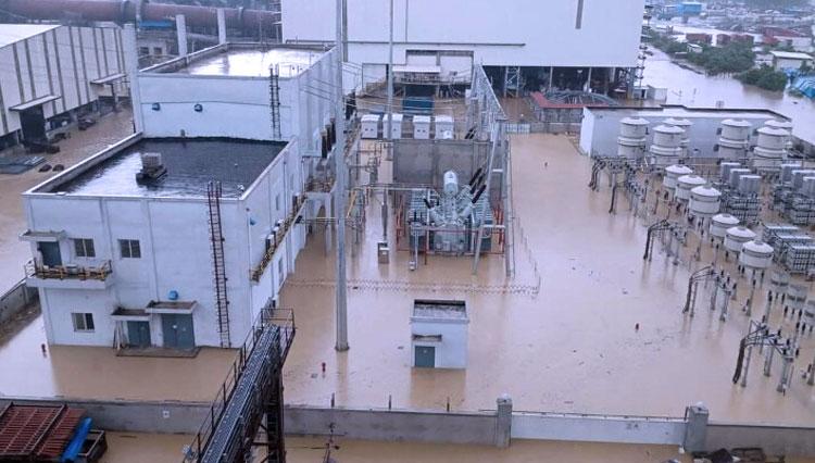 SALAH satu bagian smelter PT IWIP, Halteng yang terendang banjir Agustus 2020 lalu