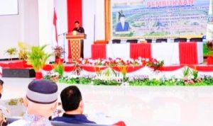 BUPATI Halmahera Timur (Haltim) Ubaid Yakub saat membuka kegiatan Musrenbang Kabupaten di Aula Kantor Bupati Haltim, Jum'at (9/4/2021)