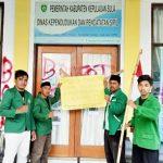 MAHASISWA STAI Babussalam Sula, pose bersama usai memalang Kantor Dukcapil Kabupaten Kepulauan Sula, Kamis (12/8/2021)