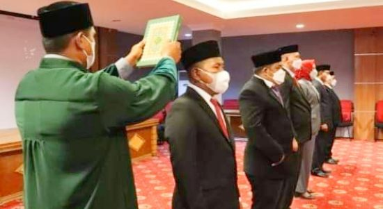 ENAM pejabat Pemprov Maluku Utara yang dilantik Gubernur AGK, Rabu (18/8/2021)