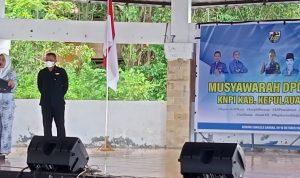 BUPATI Kepsul Fifian Adeningsi Mus saat membuka musda KNPI Kepsul ke-5 di gedung Cakalele, Desa Mangon Minggu (10/10/2021)